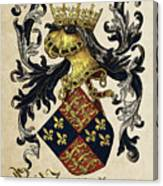 King Of England Coat Of Arms - Livro Do Armeiro-mor Canvas Print