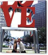 Kiss Under Love Sculpture Canvas Print