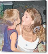 Kissing Mommy2 Canvas Print