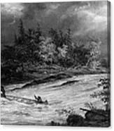 Krieghoff: Canoe On Rapids Canvas Print