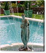 Lady In Fountain Canvas Print