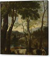 Landscape With A Cowherd Canvas Print
