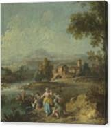 Landscape With A Group Of Figures Fishing Canvas Print