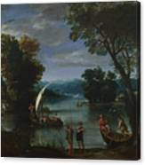 Landscape With A River And Boats Canvas Print