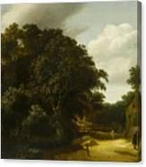 Landscape With A Village Road Canvas Print