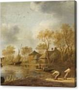Landscape With Fishers Canvas Print