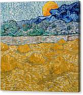 Landscape With Wheat Sheaves And Rising Moon Canvas Print