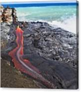 Lava Flowing Into Ocean, Hawaii Canvas Print
