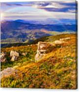 Light On Stone Mountain Slope With Forest Canvas Print