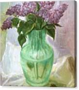Lilacs In A Glass Vase Canvas Print