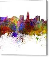 Lincoln Skyline In Watercolor Background Canvas Print