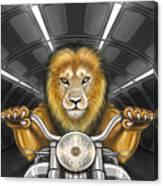 Lion On Motorcycle Canvas Print