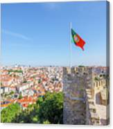 Lisbon Castle Flag Canvas Print