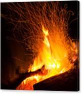 Log Campfire Burning At Night Canvas Print