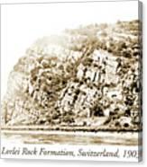 Lorelei Rock Formation, Switzerland, 1903 Canvas Print
