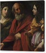 Lot And His Daughters Leaving Sodom Canvas Print
