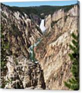 Lower Falls From Artist Point In Yellowstone National Park Canvas Print