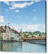 Lucerne Chapel Bridge And Water Tower - Panoramic Canvas Print