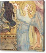 Maesta  Angel Offering Flowers To The Virgin Canvas Print