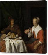 Man And Woman At A Meal Canvas Print