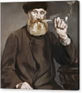 Man Smoking A Pipe Canvas Print