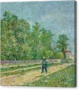 Man With Spade In A Suburb O Canvas Print