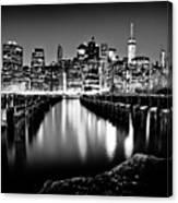 Manhattan Skyline At Night Canvas Print