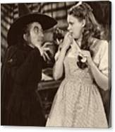 Margaret Hamilton And Judy Garland In The Wizard Of Oz 1939 Canvas Print