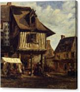 Market-place In Normandy Canvas Print