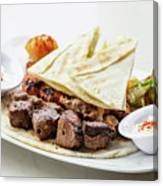 Middle Eastern Food Mixed Bbq Barbecue Grilled Meat Set Meal Canvas Print
