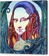 Mona Lisa. Fire Canvas Print