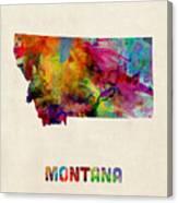 Montana Watercolor Map Canvas Print