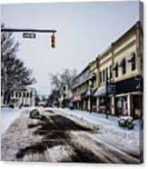 Moresville North Carolina Streets Covered In Snow Canvas Print