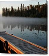 Morning Mist Over Lynx Lake In Northern Saskatchewan Canvas Print