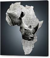 Mother Africa With A Rhino  Canvas Print