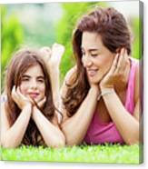 Mother With Daughter Outdoors Canvas Print