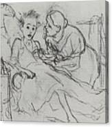 Mother With Sick Child 1878 Fig 29 9h22 6 Tg Vasily Perov Canvas Print