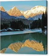 Mountain Reflections On Lago Di Barcis Canvas Print