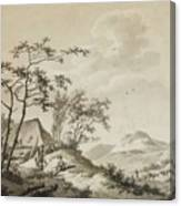 Mountainous Landscape With Three Ramblers Canvas Print