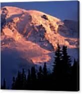 Mt. Rainier Dawn And Clouds Canvas Print