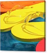 Multicolored Flip Flops Floating In Pool Canvas Print