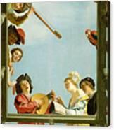 Musical Group On A Balcony Canvas Print