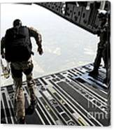 Navy Seals Jump From The Ramp Of A C-17 Canvas Print