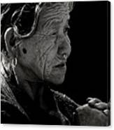 Nepali Elder At Bodhnath Stupa Canvas Print