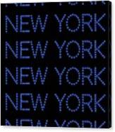 New York - Blue On Black Background Canvas Print