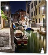 Night Canal Canvas Print