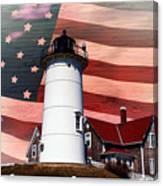 Nobska Lighthouse On American Flag Canvas Print