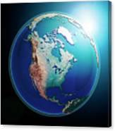 North America 3d Render Planet Earth Dark Space Canvas Print