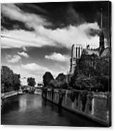 Notre Dame Cathedral And The River Seine - Paris Canvas Print