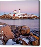 Nubble Winter Dusk Canvas Print
